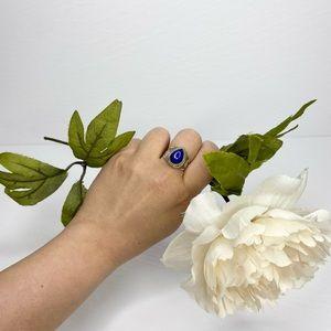 Vintage Lapis Lazuli Silver Teardrop Ring